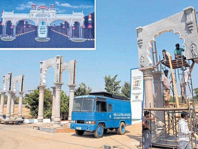 Entrance of Pravasi Bharatiya Divas venue to showcase Karnataka's history