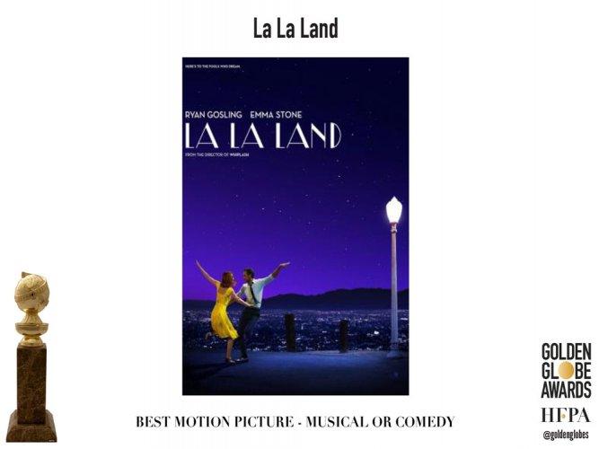 'La La Land' sweeps Golden Globes with seven wins, Trump mocked