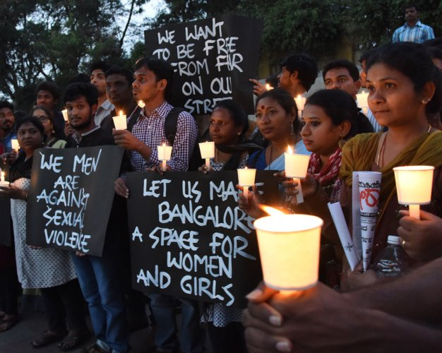 Women protest on Brigade Road, demand safe public spaces