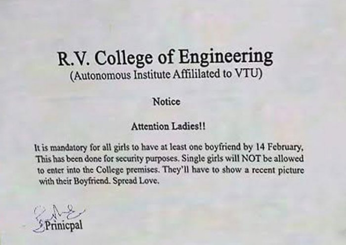 Fake notice says all RVCE girls must have boyfriends by February 14