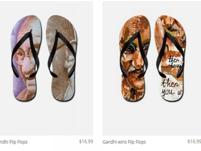 After flag incident, flip-flops with Gandhi image now on Amazon
