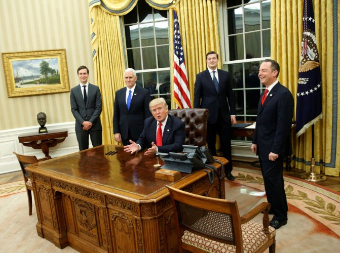 Trump gives Oval Office a makeover, reinstalls Churchill bust