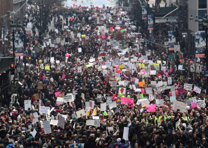 Millions join anti Trump march across US