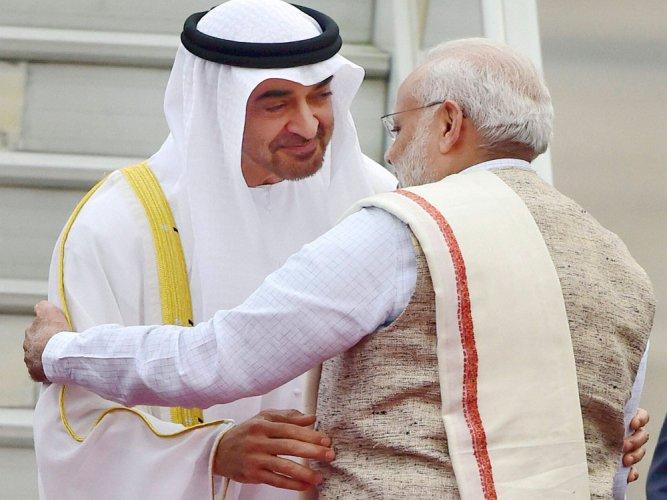 Modi breaks protocol, receives  UAE crown prince at airport