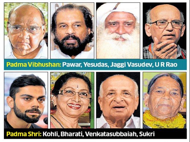 Padma awards for U R Rao, Yesudas, Kohli, Bharati, GV