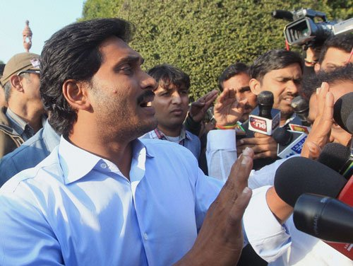 Jagan protests at Vizag airport after being denied entry into city