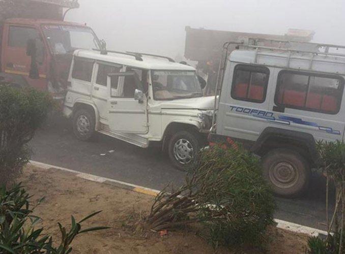 Mass vehicle collision on Jaipur-Agra NH leaves one dead