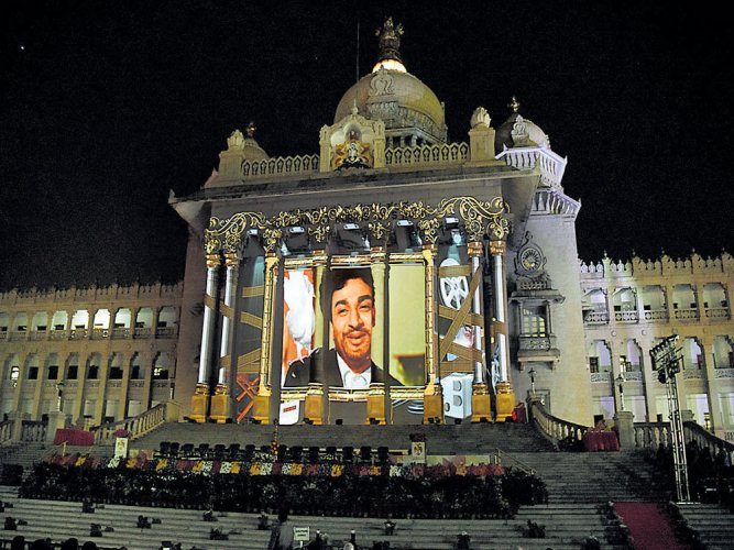 Laser show on Soudha pillars reflects state's cinema history