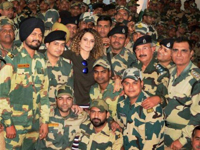 Kangana Ranaut meets BSF jawans in Jammu
