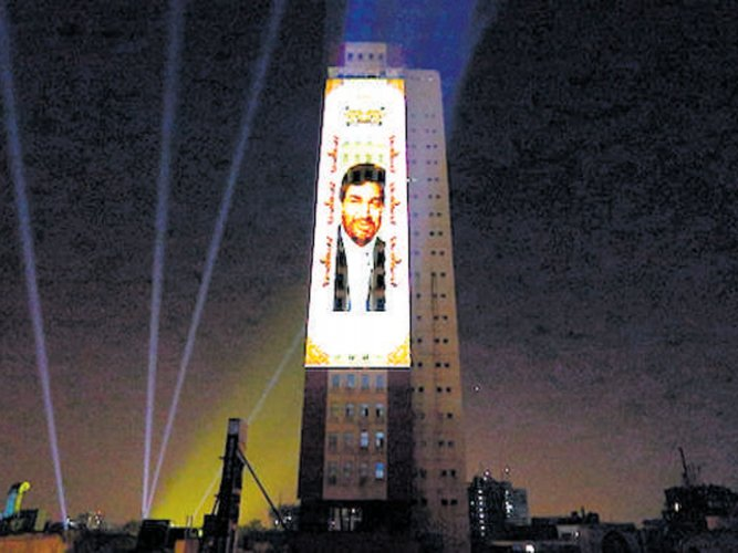 3D projection on Utility Building attracts crowds