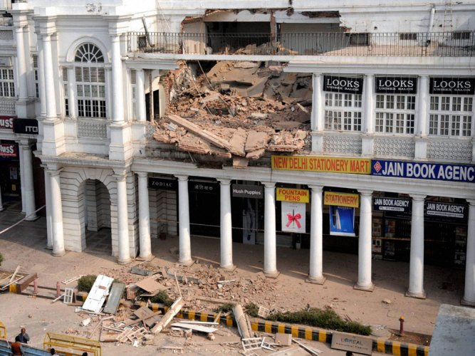 Rooftop of another Connaught Place building caves in; no casualty