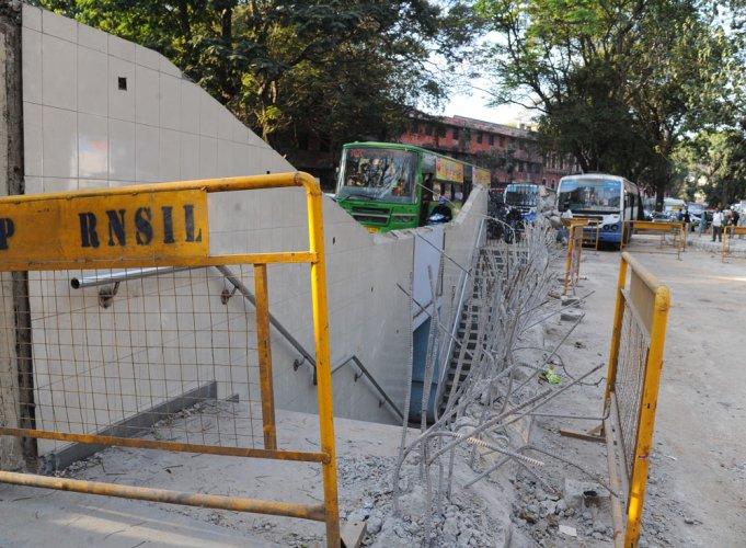 Subway wall razed