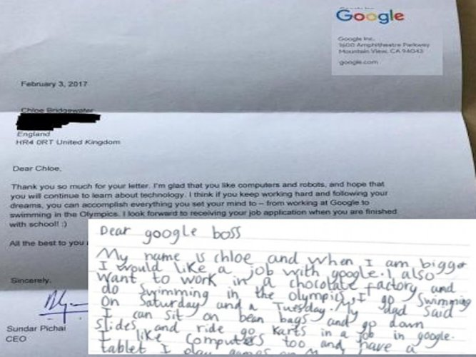 chloe bridgewater listed out her computer skills as well as an interest in a workplace that had bean bags and slides in her letter addressed to dear google