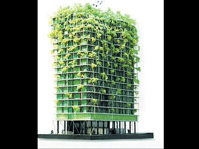 Plant-covered facade for tower