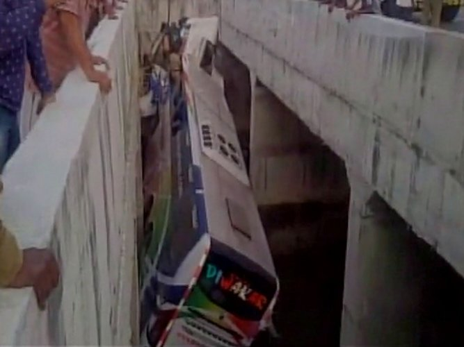 Seven killed, 30 injured as bus falls into canal in Krishna district
