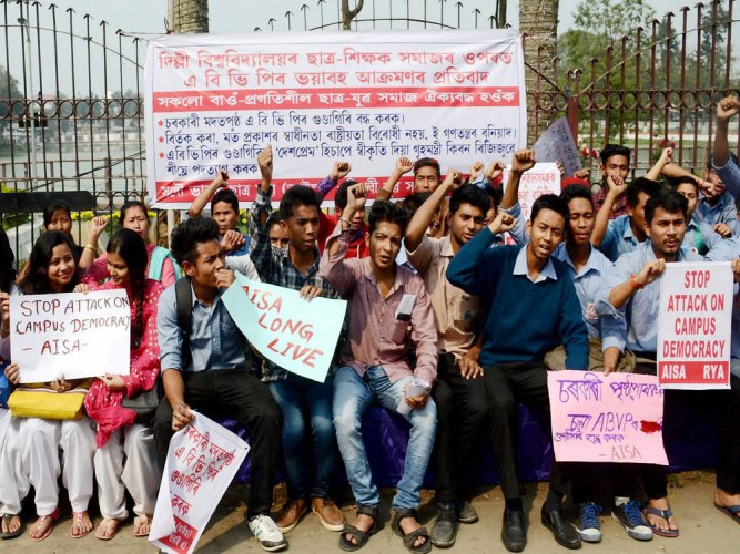 Hundreds participate in protest against ABVP