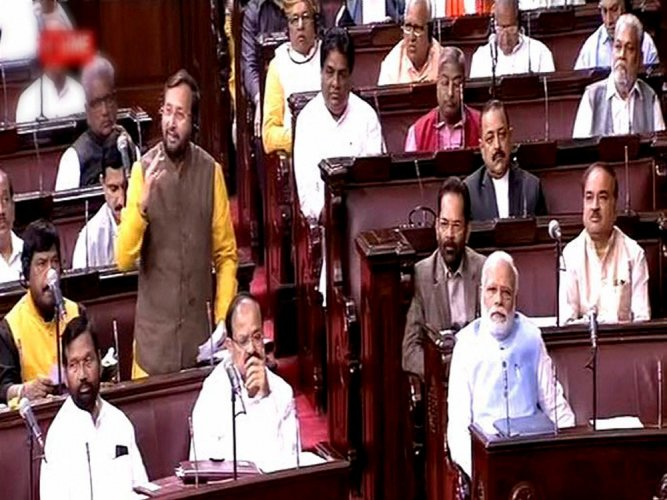 PM appears in Rajya Sabha, first time after assembly polls