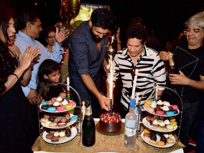 Tendulkar attends birthday party of his film's producer
