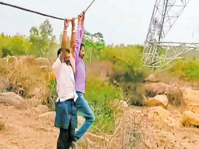 Power project work halted after farmers' protest