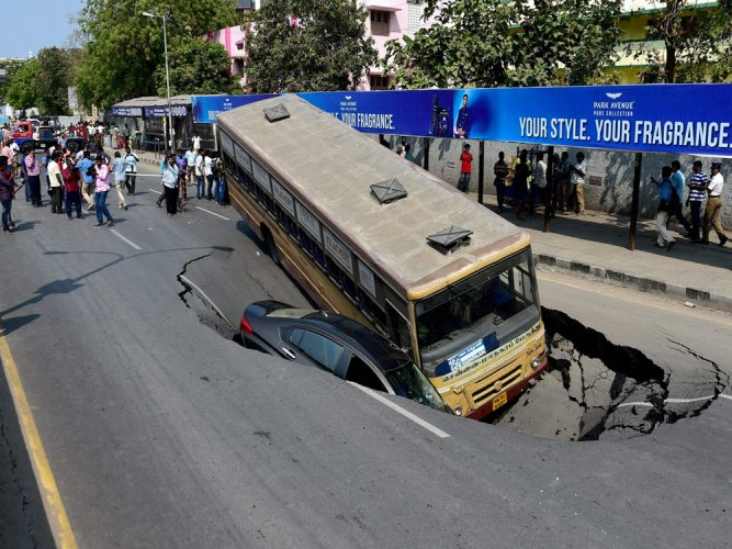 Chennai road caves in