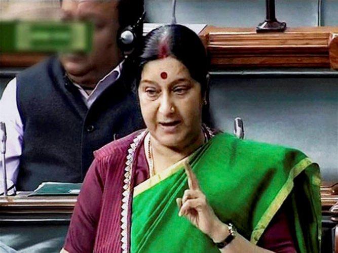 Swaraj trashes report of Tharoor drafting statement on Jadhav