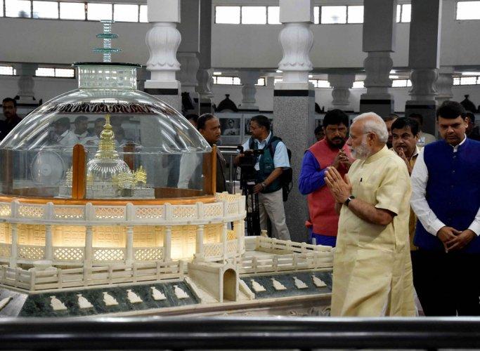 PM pays tributes to Ambedkar at Deekshabhoomi in Nagpur