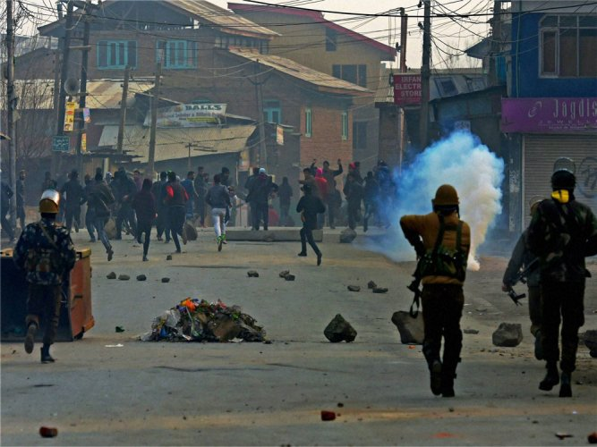 Civilian dies as forces open fire on stone-pelting protesters