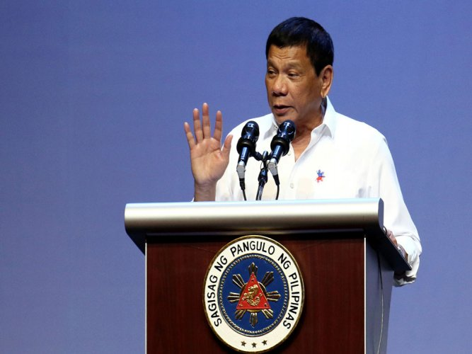 Philippines' Duterte says helpless against China