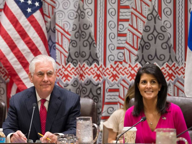 Trump's UN envoy often off-message, seems in his good graces