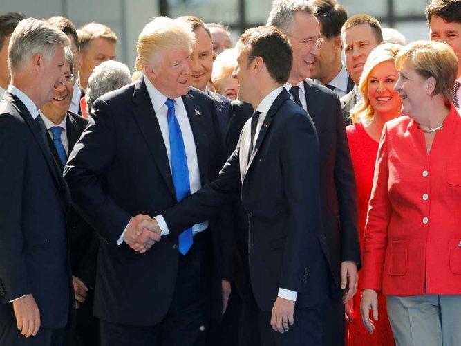 Trump Handshake Showdown France S Macron Just Won T Let Go Deccan Herald