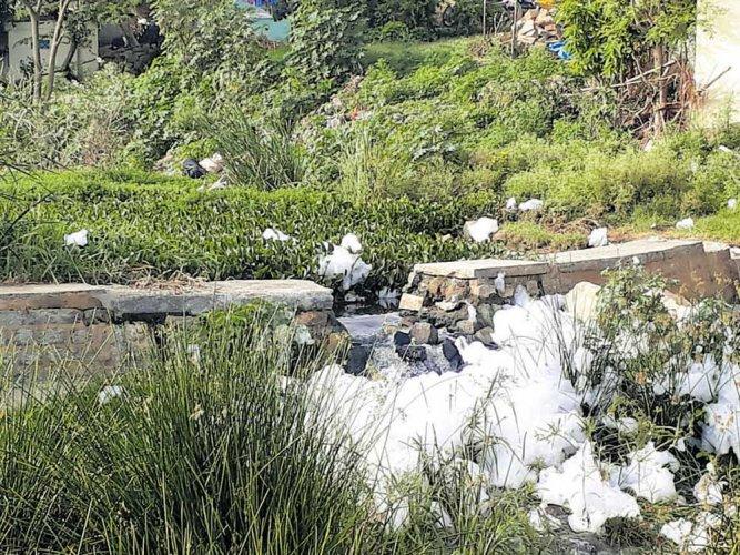 Waste weir of Subramanyapura lake damaged