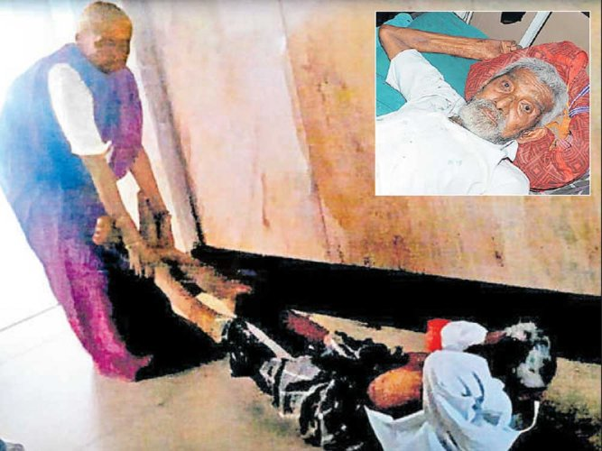 Denied wheelchair, woman drags ailing husband on hospital floor