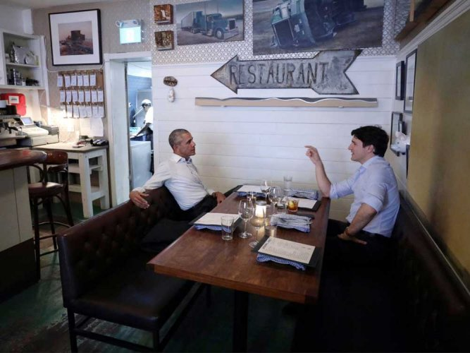 Obama has private dinner with Trudeau in Montreal