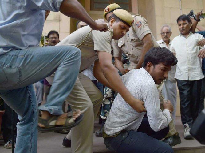 Hindu Sena members disrupt Yechury's press conference