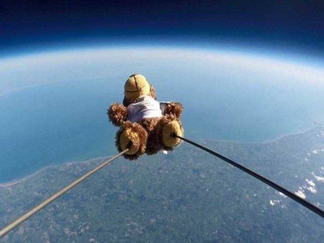 Teddy bear reaches space after tied to balloon by kids in UK