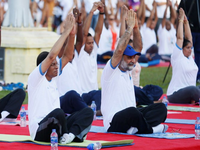Sri Lanka President attends India organised Yoga Day