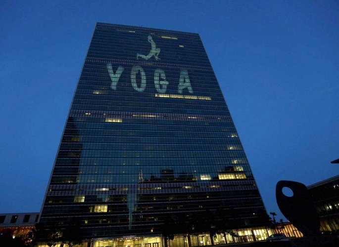 UN lights up for International Yoga Day