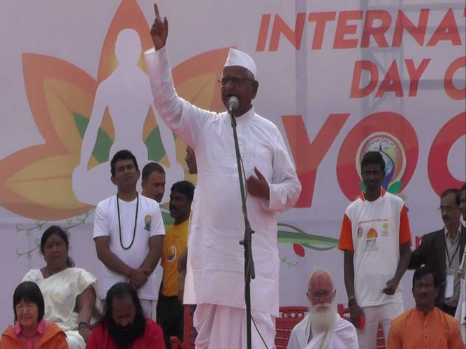 Anna Hazare graces International Yoga Day celebration in City