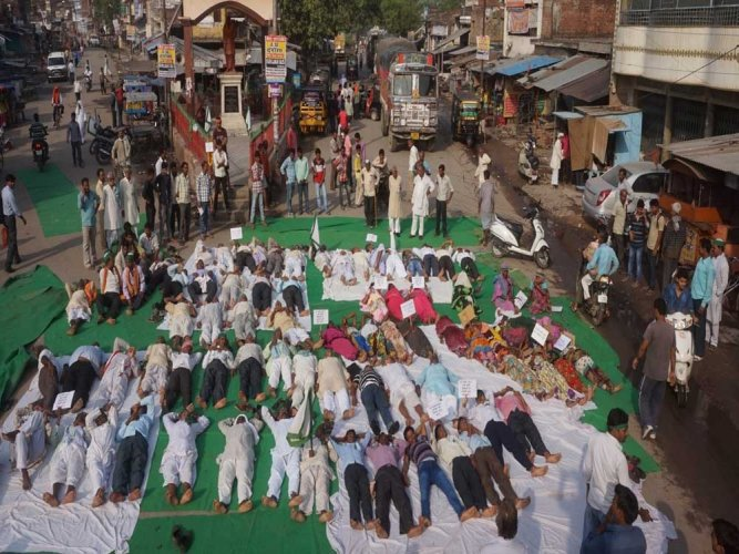 Farmers hold 'vrodhasana' on UP highways