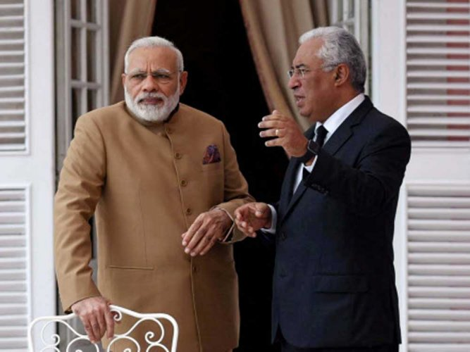 Modi presents OCI card to Portugal's Indian-origin PM Costa