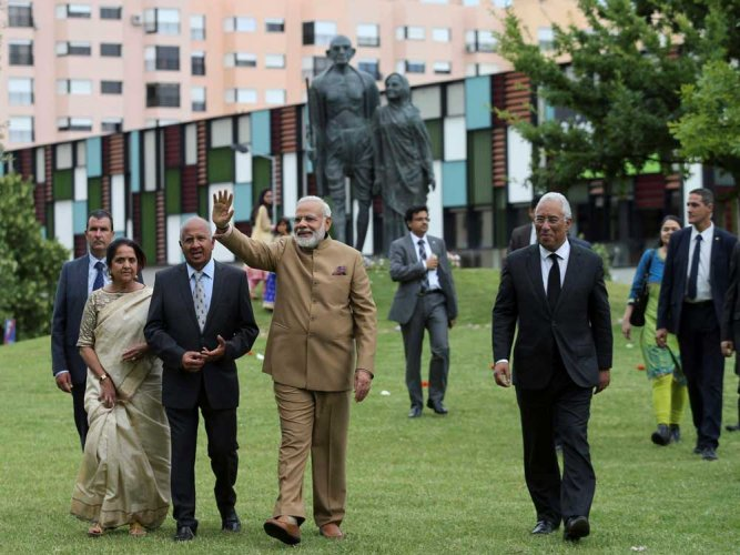 Modi leaves for US after concluding Portugal trip