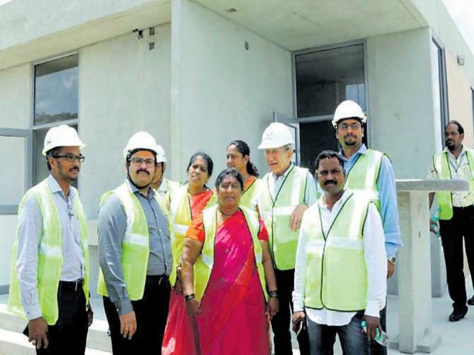 Mayor checks progress of Indira Canteen structures at TN factory