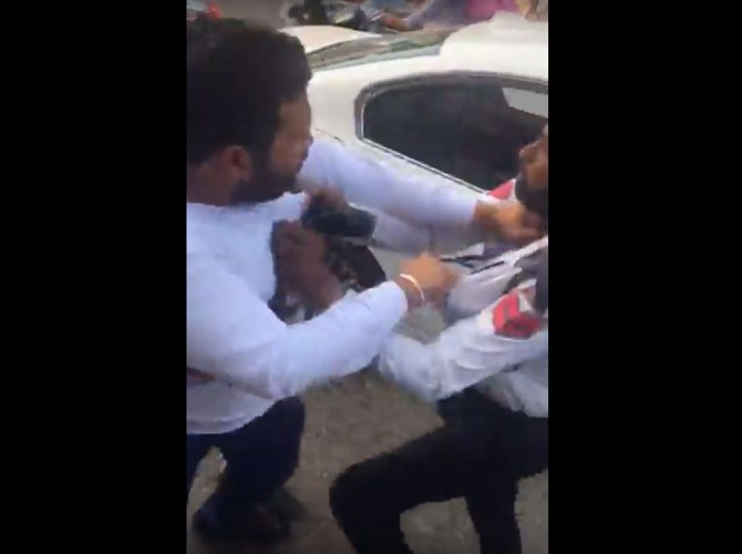 Watch: Man thrashes cop for stopping him on account of rule violation