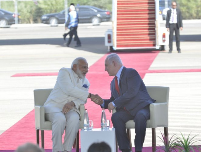 Special welcome to Modi on 'ground-breaking' visit to Israel