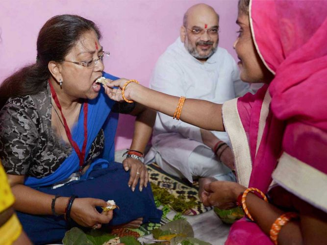 Amit Shah has lunch with Dalit family in Rajasthan