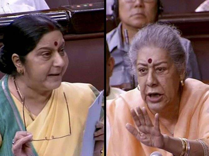 Sushma, Oppn spar in RS over missing Indians