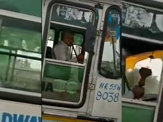 Caught on cam: Haryana roadways driver smokes hookah while driving