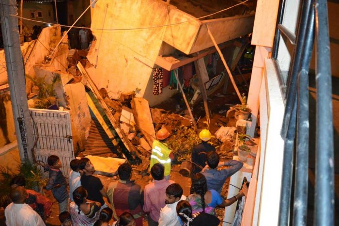 Tilting 2-storey building gives anxious moments to residents