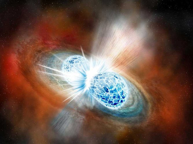 Dead stars collide, unlock clues to universe