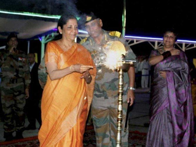Sitharaman celebrates Diwali with troops at Andaman & Nicobar